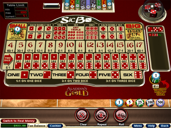 Play Sic Bo at Aladdins Gold Casino